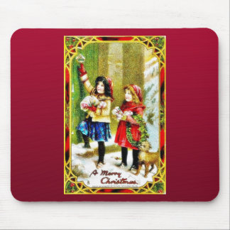 Christmas greeting with two girls knocking the doo mouse pad