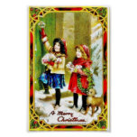 Christmas greeting with two girls knocking the doo posters