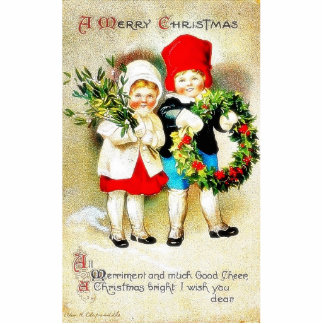 Christmas greeting with two kids holding bouque an cutout