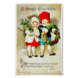 Christmas greeting with two kids holding bouque an poster