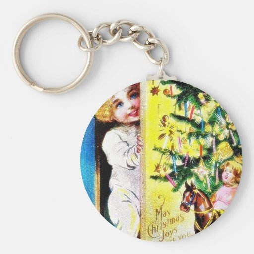 Christmas greeting with two kids looking through t key chain