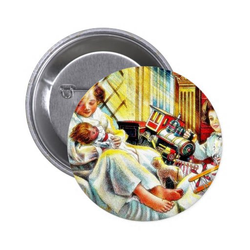 Christmas greeting with two kids playing with toys 2 inch round button