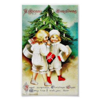 Christmas greeting with two kids speaking infront posters