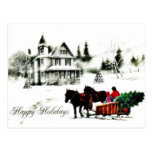 Christmas greeting with two persons going by horse postcard