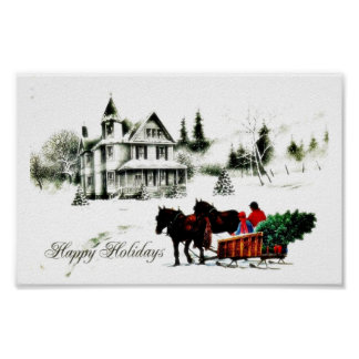 Christmas greeting with two persons going by horse poster