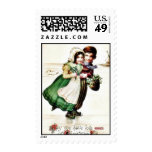 Christmas greeting with two young couples walking postage