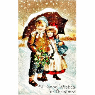 Christmas greeting with with a boy and girl under photo sculpture