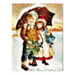 Christmas greeting with with a boy and girl under postcard