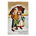 Christmas greeting with with a boy and girl under poster