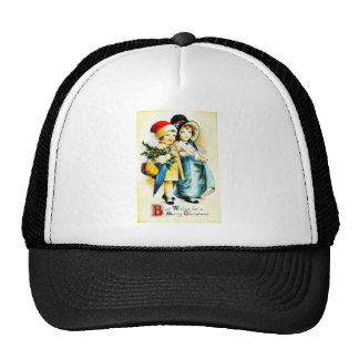 Christmas greeting with with a boy and girl walkin mesh hat