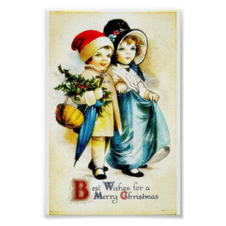 Christmas greeting with with a boy and girl walkin poster