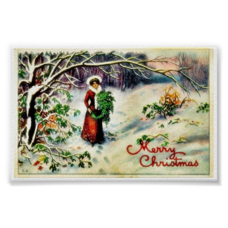 Christmas greeting with with lady carrying christm poster