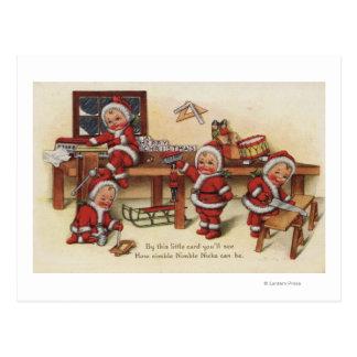 Christmas GreetingLittle Kids on Workbench Postcard
