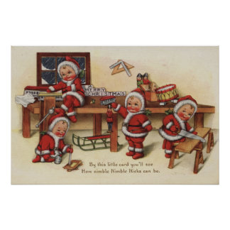 Christmas GreetingLittle Kids on Workbench Poster