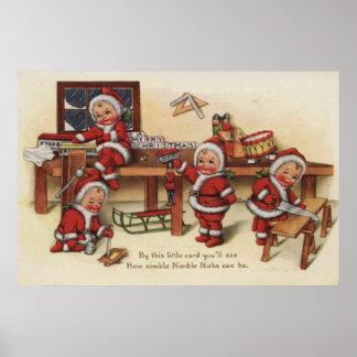 Christmas GreetingLittle Kids on Workbench Poster