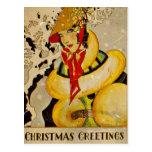 Christmas Greetings 1928 Postcard