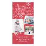 Christmas Greetings 3-Photo Snowflake Holiday Card