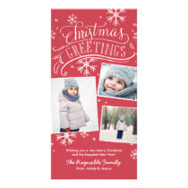 Christmas Greetings 3-Photo Snowflake Holiday Card