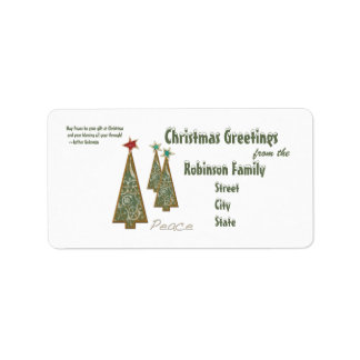 Christmas Greetings-3 Trees/Peace+quote Address Label