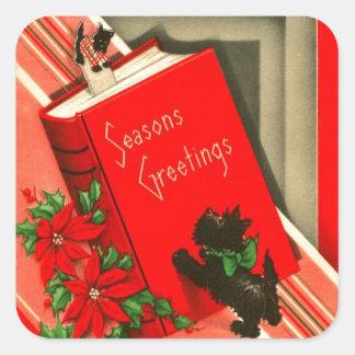 Christmas Greetings Black Scottie Dog Square Sticker