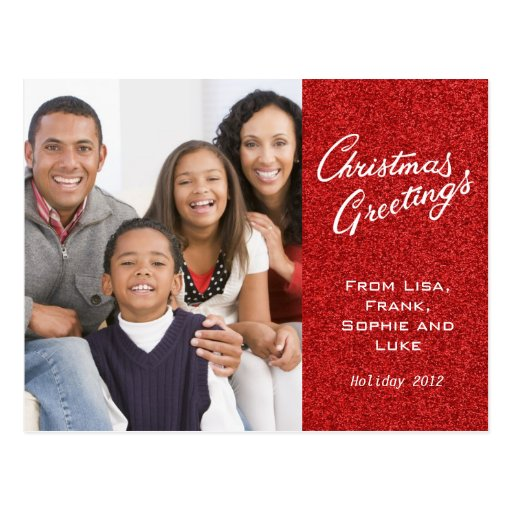Christmas Greetings Family Holiday Card Postcard