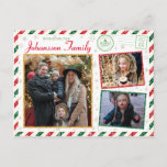 """Christmas Greetings Family Photo Glitter Air Mail Postcard<br><div class=""""desc"""">A gorgeous vintage style glitter border postcard design with red and green stripes for this holiday season. Add your special family photos to the front and back of this postcard. A large space for a custom message on the back side along with space to write your recipient address details and...</div>"""