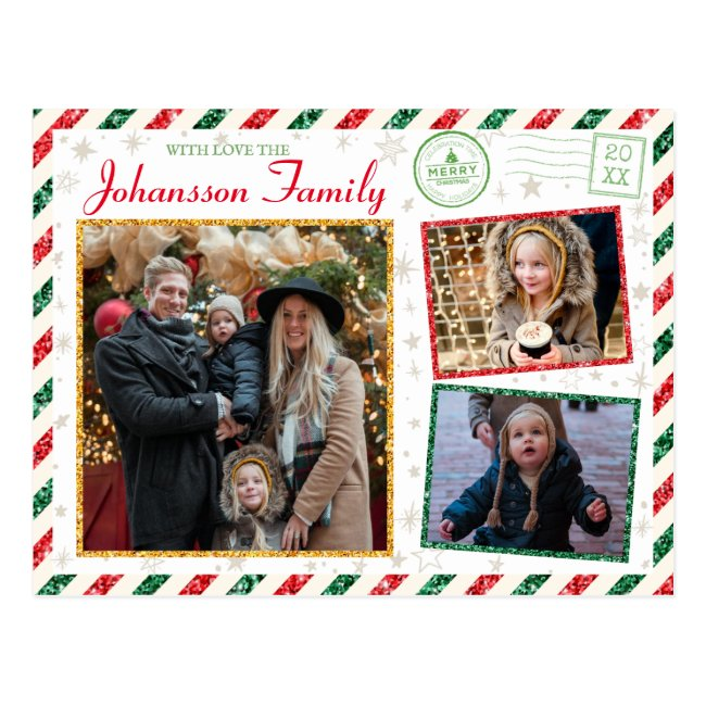 Christmas Greetings Family Photo Glitter Air Mail Postcard