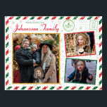 "Christmas Greetings Family Photo Glitter Air Mail Postcard<br><div class=""desc"">A gorgeous vintage style glitter border postcard design with red and green stripes for this holiday season. Add your special family photos to the front and back of this postcard. A large space for a custom message on the back side along with space to write your recipient address details and...</div>"