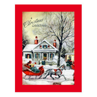 Christmas Greetings from a Sleigh Postcard
