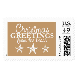 Christmas Greetings from Beach Vacation Postage