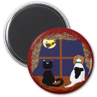 Christmas Greetings from Beagle and Cat Fridge Magnets
