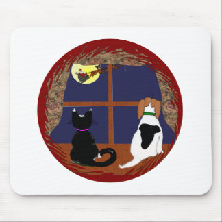 Christmas Greetings from Beagle and Cat Mousepads