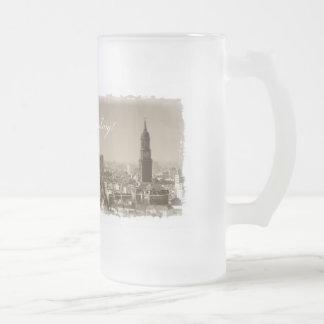 Christmas greetings from Hamburg, Christmas card,  Frosted Glass Beer Mug