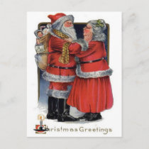 Christmas Greetings from Mr and Mrs Claus Holiday Postcard