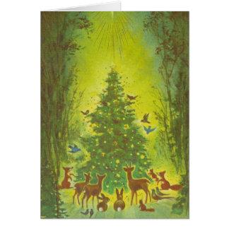 Christmas Greetings Gathering around a tree_1950 Card