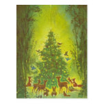 Christmas Greetings Gathering around a tree_1950 Postcard