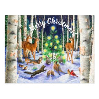 Christmas Greetings Gathering around a tree Postcard