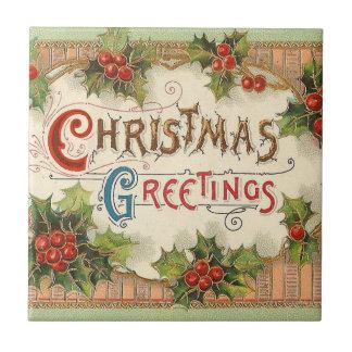 Christmas Greetings Holly Tile
