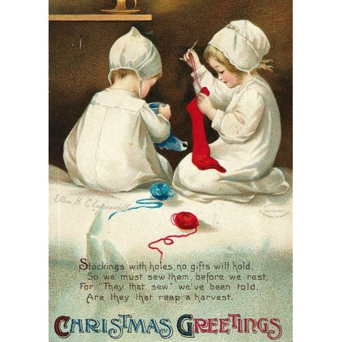 Christmas Greetings Kids Sewing Christmas Socks card