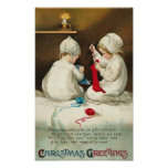 Christmas Greetings Kids Sewing Christmas Socks Posters