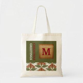 Christmas Greetings Monogram Holiday Tote Bag