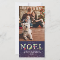 Christmas Greetings NOEL Poinsettia Flowers  Photo Holiday Card