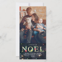 Christmas Greetings NOEL Poinsettia Holiday Photo