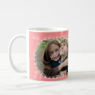 Christmas greetings on Coral background with snow Coffee Mug