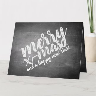 Christmas greetings on the chalk board card