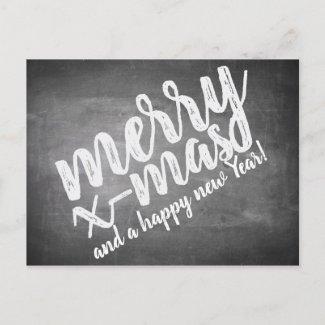 Christmas greetings on the chalk board holiday postcard