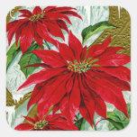 Christmas Greetings Pointsettia Square Sticker