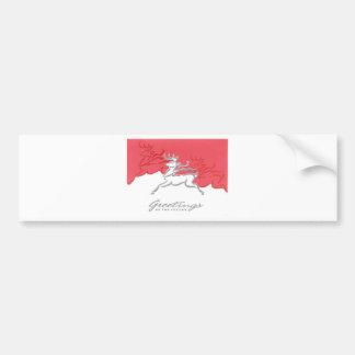 Christmas Greetings Reindeer Red White Holiday Art Bumper Sticker