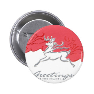 Christmas Greetings Reindeer Red White Holiday Art Pinback Button