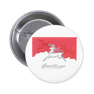 Christmas Greetings Reindeer Red White Holiday Art Buttons